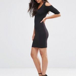 ASOS Bodycon Little Black Dress Cold Shoulder NWT